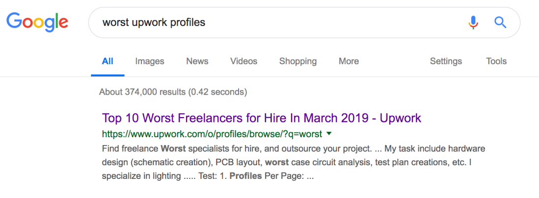 Getting A Job At Google Is Easier Than Getting A Profile On Upwork